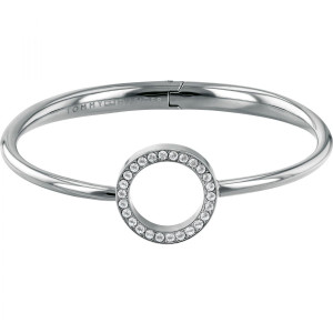 Tommy Hilfiger Ladies Dressed Up Silver Open Circle Crystal Hinged Bangle 2780064