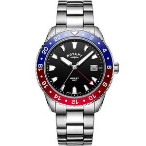Rotary Men's GMT Henley Sapphire Black Dial Bracelet Watch GB05108/30