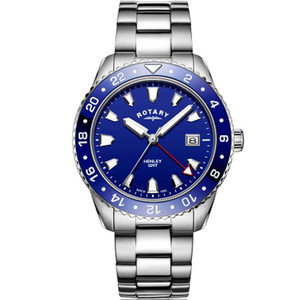 Rotary Men's GMT Henley Sapphire Ceramic Blue Dial Bracelet Watch GB05108/05