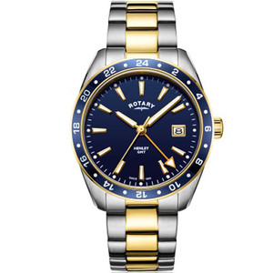 Rotary Men's GMT Henley Sapphire Galvanic Blue Dial Two Tone Gold PVD Bracelet Watch GB05296/05