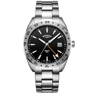 Rotary Men's GMT Henley Sapphire Galvanic Black Dial Bracelet Watch GB05295/04