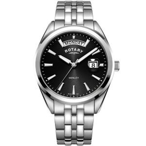 Rotary Men's Henley Sapphire Black Dial Silver Bracelet Watch GB05290/04