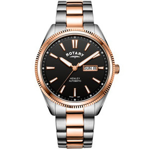 Rotary Men's Henley Automatic Sapphire Black Dial Two Tone Rose Gold PVD Bracelet Watch GB05382/04
