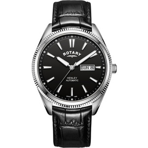 Rotary Men's Henley Automatic Sapphire Black Dial Leather Strap Watch GS05380/04