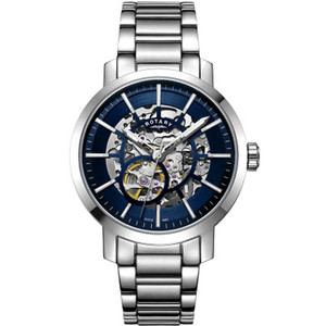 Rotary Men's Greenwich Skeleton Sapphire Automatic Silver Bracelet Watch GB05350/05