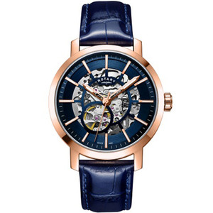 Rotary Men's Greenwich Skeleton Sapphire Automatic Rose Gold PVD Blue Leather Strap Watch GS05354/05