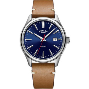 Rotary Men's Oxford Sapphire Blue Dial Tan Leather Strap Watch GS05092/53