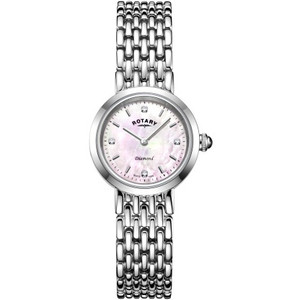 Rotary Ladies Balmoral Sapphire Diamond Set Pink Mother Of Pearl Dial Bracelet Watch LB00899/07/D