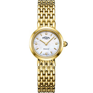 Rotary Ladies Balmoral Sapphire Diamond Set White Mother Of Pearl Dial Gold PVD Bracelet Watch LB00900/41/D