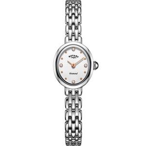 Rotary Ladies Balmoral Sapphire Diamond Set White Gloss Dial Bracelet Watch LB05150/02/D