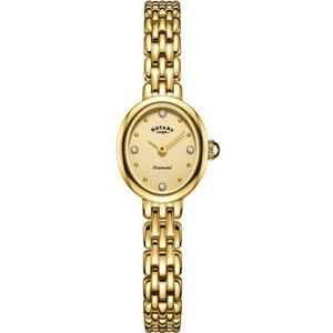 Rotary Ladies Balmoral Sapphire Diamond Set Champagne Dial Gold PVD Bracelet Watch LB05151/03/D