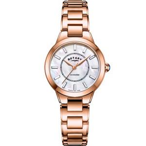 Rotary Ladies Kensington Swarovski Crystal Sapphire White Mother Of Pearl Dial Rose Gold PVD Bracelet Watch LB05379/41