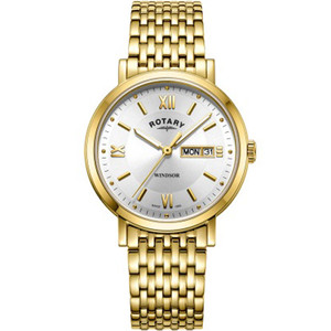 Rotary Men's Windsor Sapphire Silver White Dial Gold PVD Bracelet Watch GB05303/09