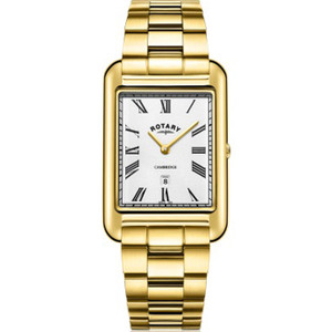 Rotary Men's Cambridge Sapphire Glossy Silver White Dial Gold PVD Bracelet Watch GB05283/01