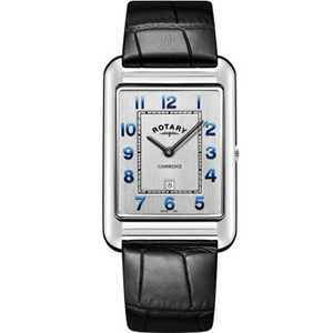 Rotary Men's Cambridge Sapphire Silver Dial Black Leather Strap Watch GS05280/70
