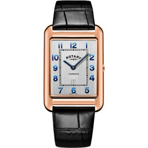 Rotary Men's Cambridge Sapphire Rose Gold PVD Case Black Leather Strap Watch GS05284/70