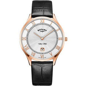 Rotary Men's Ultra Slim Sapphire Silver Dial Black Leather Strap Watch GS08304/01