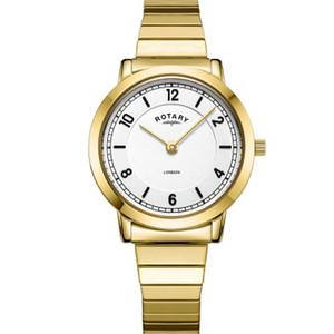 Rotary Ladies London White Galvanic Dial Gold PVD Expanding Bracelet Watch LB00766/18