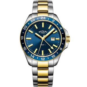 Rotary Men's GMT Havana Sapphire Striking Blue Dial Two Tone Bracelet Watch GB05082/05
