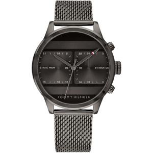 Tommy Hilfiger Men's Icon Dual Time Grey Dial Mesh Bracelet Watch 1791597