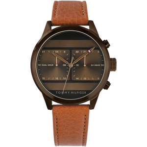 Tommy Hilfiger Men's Icon Dual Time Brown Sunray Dial Leather Strap Watch 1791594