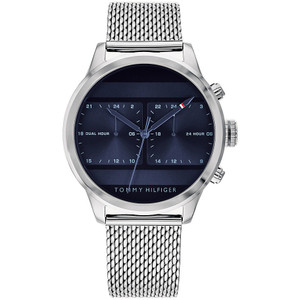 Tommy Hilfiger Men's Icon Dual Time Navy Blue Sunray Dial Silver Mesh Bracelet Watch 1791596