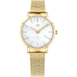 Tommy Hilfiger Ladies Lily White Mother Of Pearl Dial Gold Plated Mesh Bracelet Watch 1782043