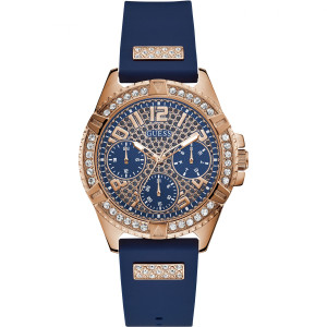 Guess Ladies Frontier Chronograph Blue Glitz Dial Crystals Rubber Strap Watch W1160L3