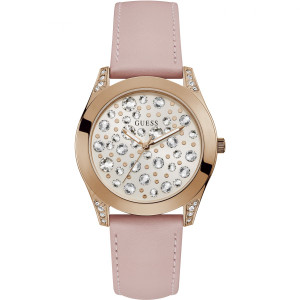 Guess Ladies Wonderlust White Crystals Dial Pink Leather Strap Watch W1065L1