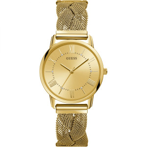 Guess Ladies Maiden Sunray Gold Dial Braided Mesh Bracelet Watch W1143L2