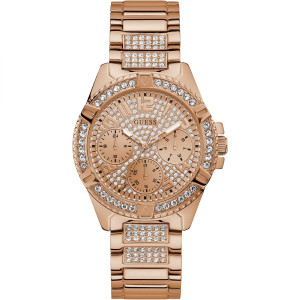 Guess Ladies Frontier Crystals Glitz Dial Rose Gold Plated Bracelet Watch W1156L3