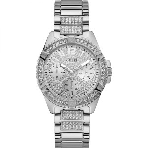 Guess Ladies Frontier Crystals Glitz Dial Silver Bracelet Watch W1156L1