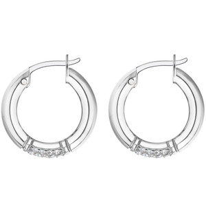 Tommy Hilfiger Ladies Silver Crystals Detailed Hoop Earrings 2780211