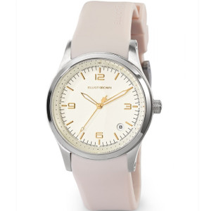 Elliot Brown Ladies Kimmeridge White Dial Nude Rubber Strap Watch 405-008-R31