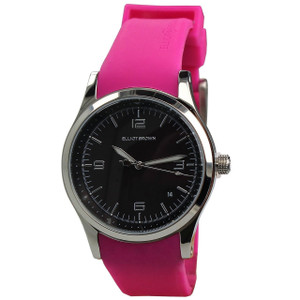 Elliot Brown Ladies Kimmeridge Black Dial Magenta Rubber Strap Watch 405-005-R28