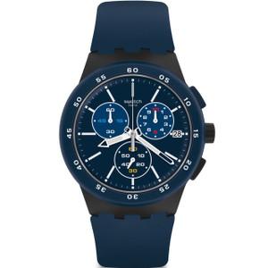 Swatch Chrono Plastic Blue Steward Men's Dark Blue Dial Silicone Strap Watch SUSB417