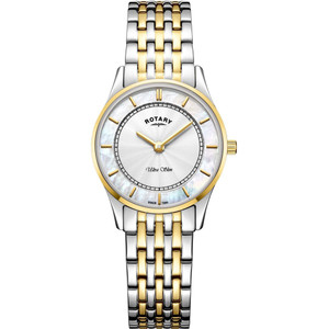 Rotary Ladies Ultra Slim Sapphire White Mother Of Pearl Dial Two Tone Bracelet Watch LB08301/41