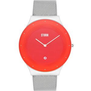 Storm Men's Terelo Lazer Red Dial Silver Mesh Bracelet Slim Watch