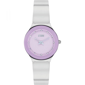 Storm Ladies Arin Curvex Lavender Swarovski Crystals Silver Bracelet Slim Watch