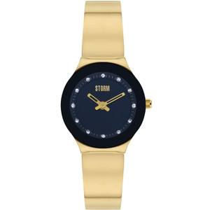 Storm Ladies Arin Curvex Gold Black Swarovski Crystals Bracelet Slim Watch