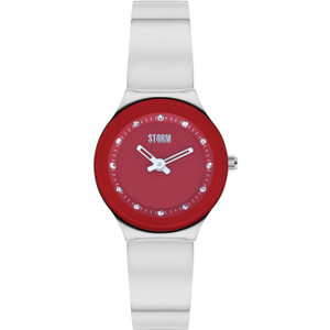Storm Ladies Arin Curvex Red Dial Swarovski Crystals Silver Bracelet Slim Watch