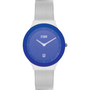 Storm Ladies Mini Sotec Lazer Blue Dial Silver Mesh Bracelet Slim Watch
