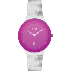 Storm Ladies Mini Sotec Lazer Purple Dial Silver Mesh Bracelet Slim Watch