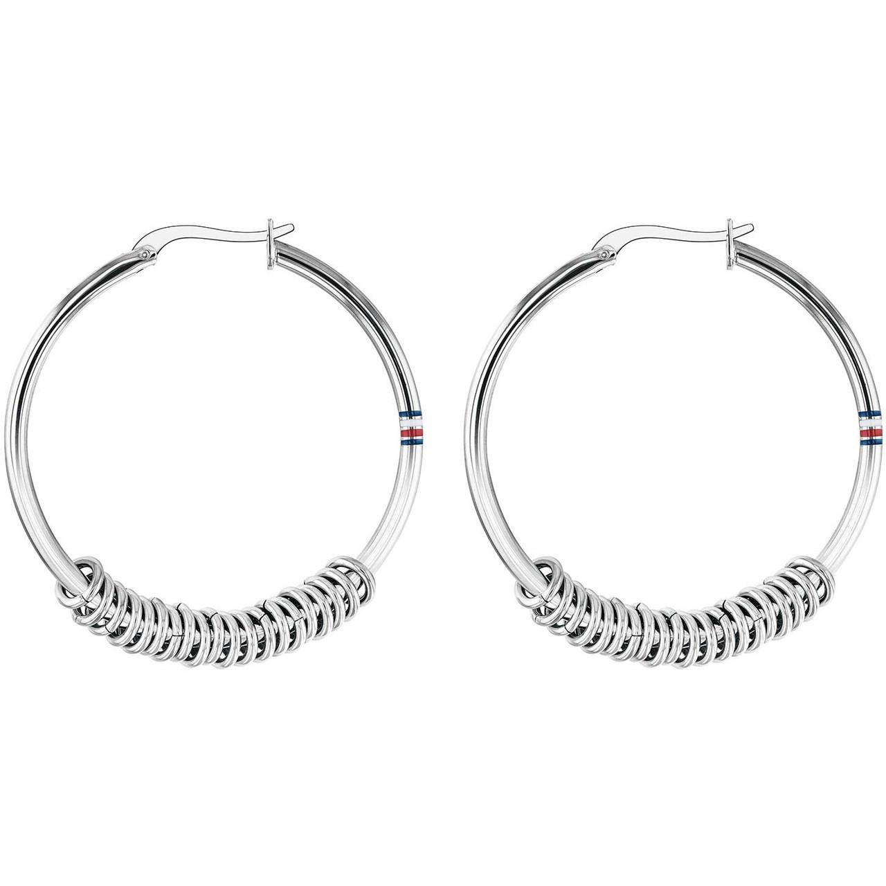 08c62cb25 Tommy Hilfiger Silver Multi Logo Hoop Earrings 2780214 | WatchO™