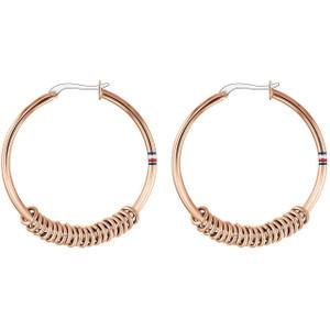 Tommy Hilfiger Ladies Rose Gold Multi Logo Hoop Earrings 2780216