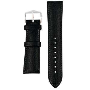 Hirsch Forest Replacement Black Genuine Textured Leather 20mm Watch Strap With Free Connecting Pins 17900250-2-20