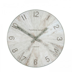 Thomas Kent Designer Wharf Pickled Oak Small Wall Clock (38 cm)