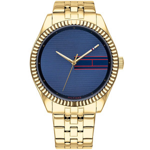 Tommy Hilfiger Lee Ladies Blue Dial Gold Plated Bracelet Watch 1782081