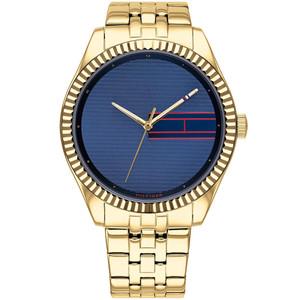 Tommy Hilfiger Lee Ladies Blue Dial Gold Plated Bracelet Watch 1782081
