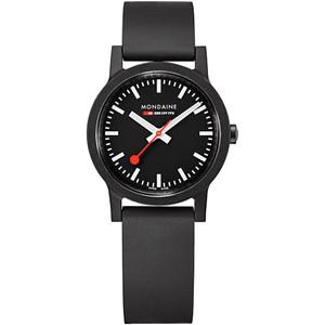 Mondaine Essence Ladies 32mm Black Dial Rubber Strap Swiss Railways Watch MS1.32120.RB
